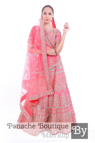 Pink Colour Heavily Embroidered Zardozi Lehenga