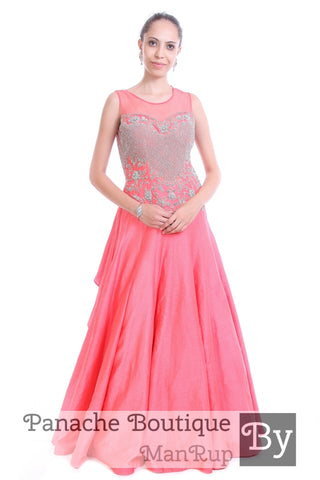 Pink Colour Layered Gown with Zardozi Embroidery