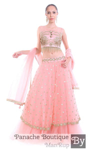 Pink Color Layered Lehenga Choli