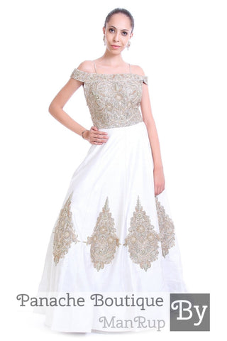 White Colour Off-Shoulder Gown