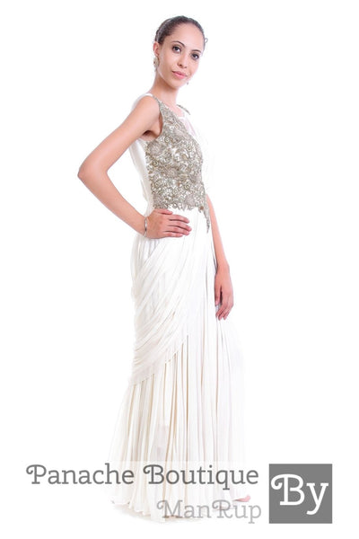 White Colour Saree Gown with Zardozi Work