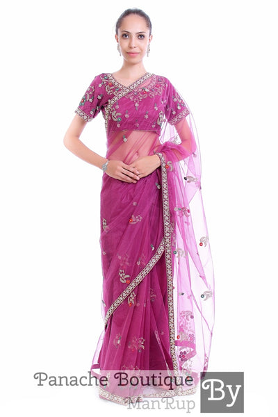 Wine Purple Gold Colour Net Saree with Hand Embroidery