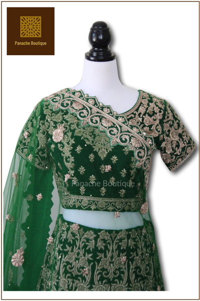 Emerald Green Colour Wedding Lehenga