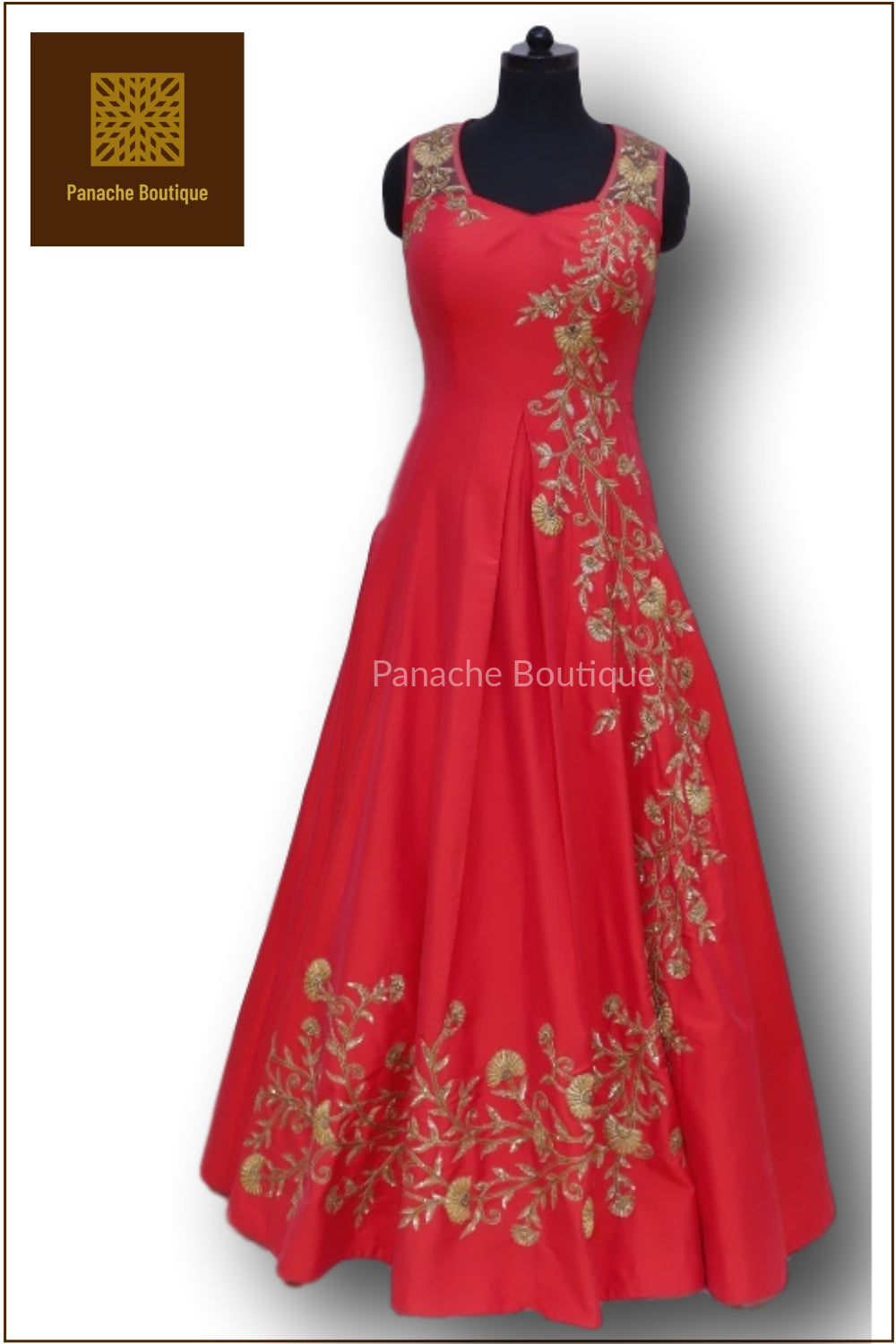 Red Colour Indo Western Gown