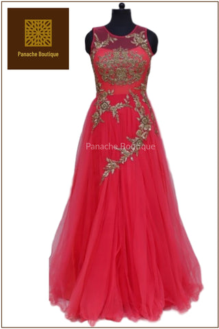 Pink Colour Designer Gown