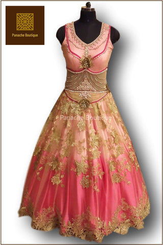 Pink Ombre Floor Length Gown