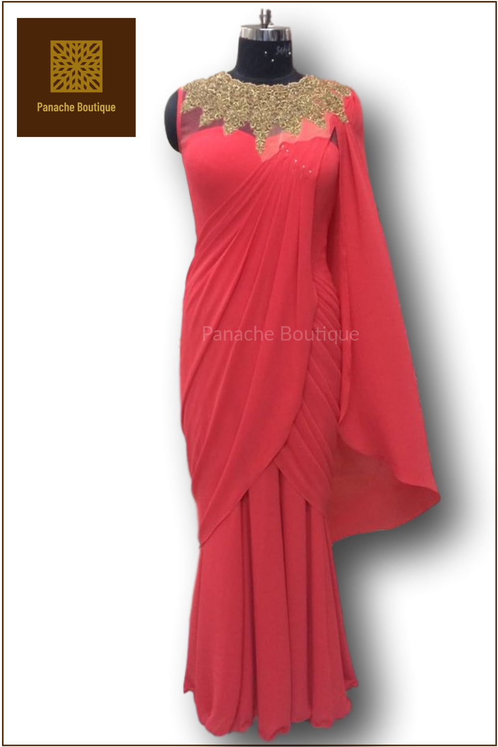 Red Colour Saree Gown