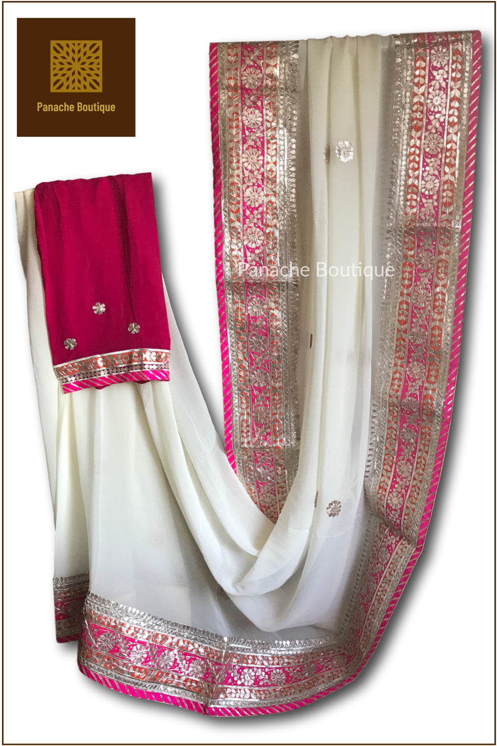 Ivory Colour Gotta Patti Saree