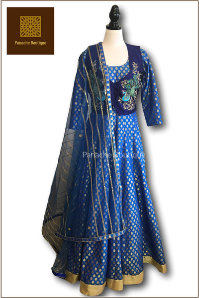 Electric Blue Anarkali with Jacket