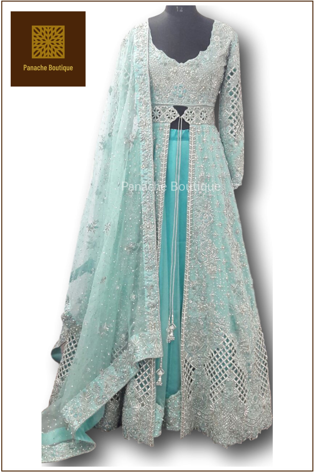 Mint Green Colour Wedding Lehenga