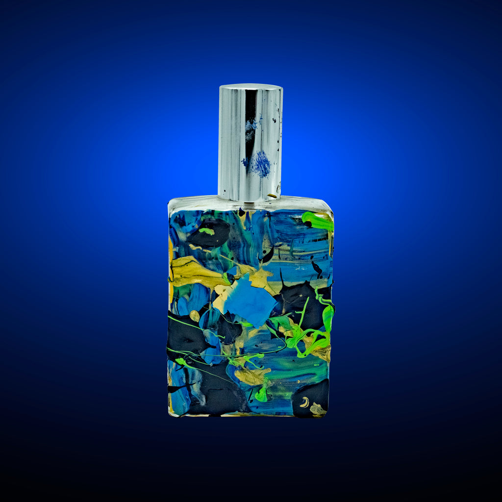 Success Cologne by Niam Jain in hand painted Gold, Blue & Green Bottle
