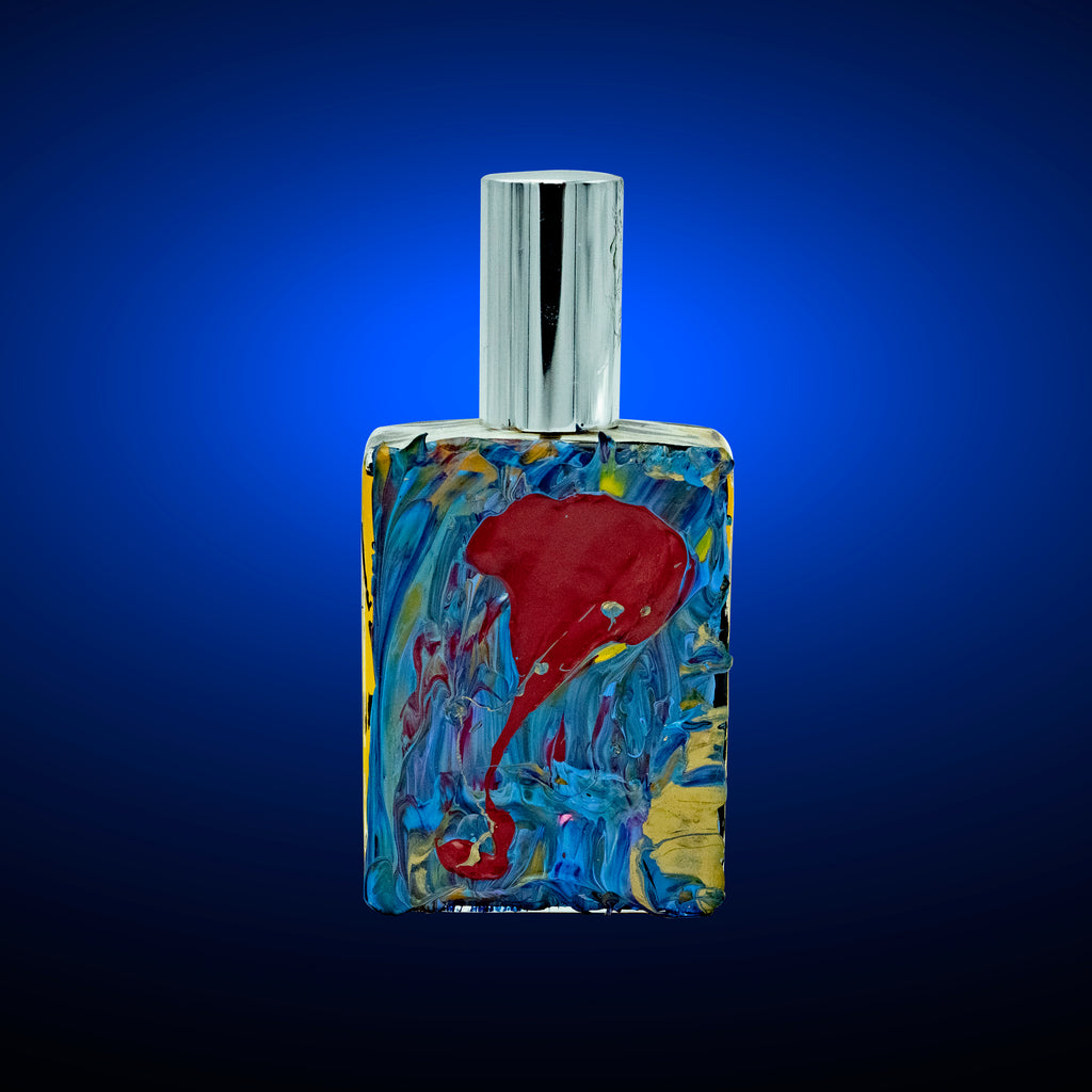 Success Cologne by Niam Jain in hand painted Gold, Blue & Red Bottle