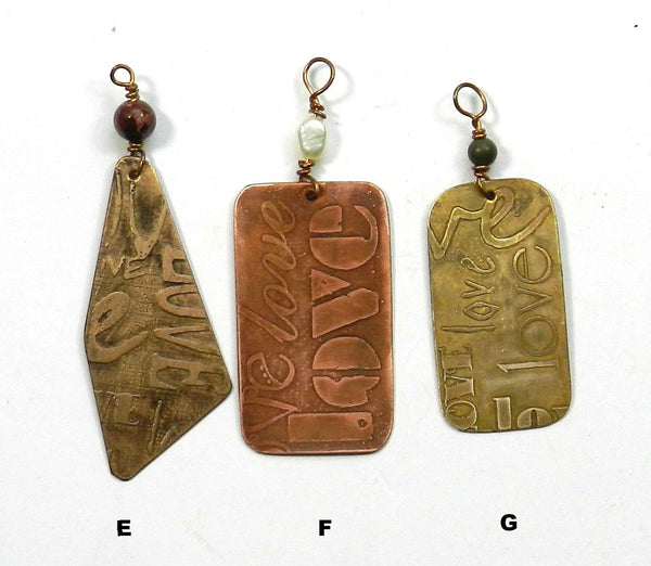 More Etched Metal Love Pendants