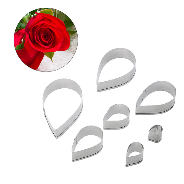 7Pcs Rose Petal  Cookie Cutter Stainless Steel