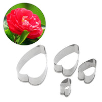 4pcs/set Cookie Cutters Camellia Flower Stainless Steel
