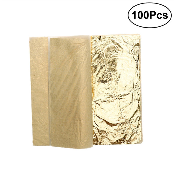 100 Sheets Imitation Gold Leaf 5.5 Inch for Art / Crafts Decoration / Gilding Crafting / Frames