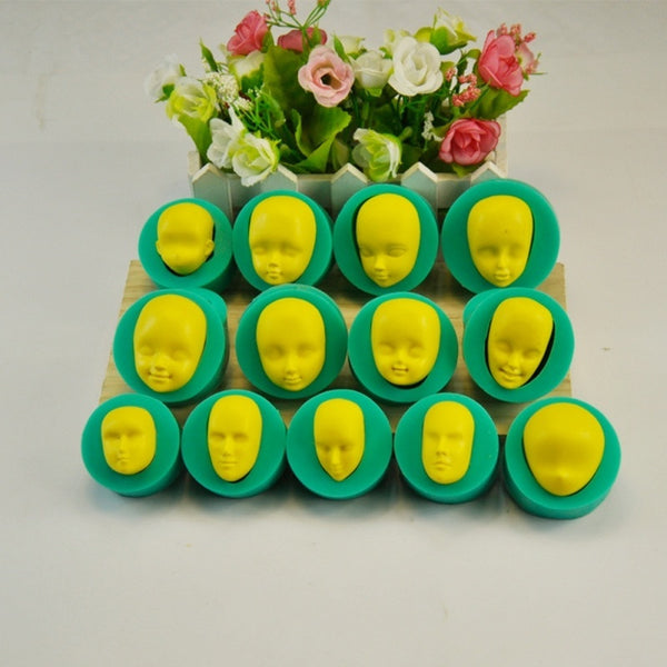 13 Pcs 3D Dolls Face Silicone Mold Fondant Cake Chocolates Baking Tool