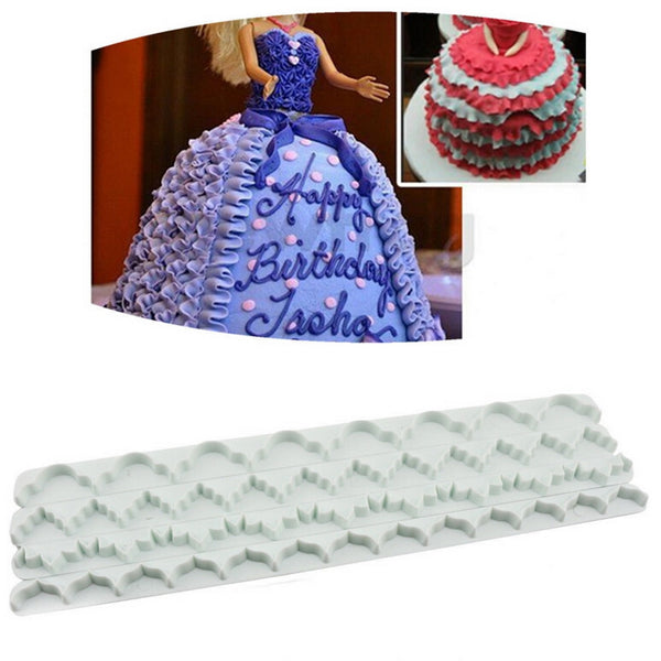 NEW 4pcs/set Cake Lace Decoration Mold Plastic Straight Frill Lace Ribbon Cutters Baby Doll Dress Cake Press Flower Mold Set