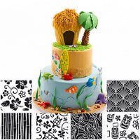 6pcs Texture Sheet Set Cookie Texture Mat Sugar Craft Decoration For Cupcake Fondant Cake Mold Baking Tools For Cakes