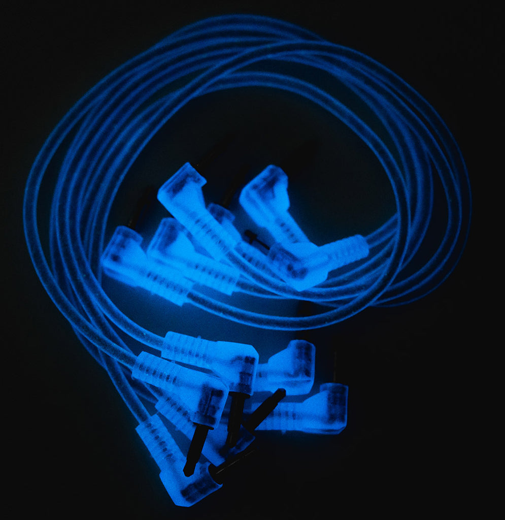 Modbang Cobalt Blue Glow Right-Angle Patch Cables 6-pack (multiple lengths)