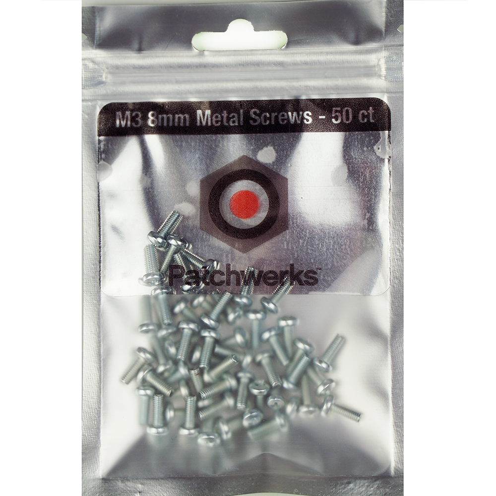 Patchwerks Silver M3 8mm Metal Eurorack Screws (50 count)