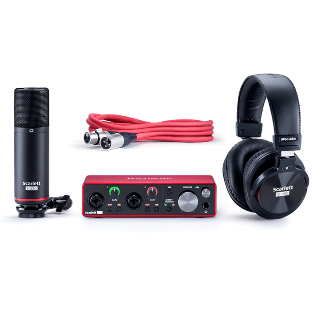 Focusrite Scarlet 2i2 Studio Audio Interface, Mic, and Headphones bundle
