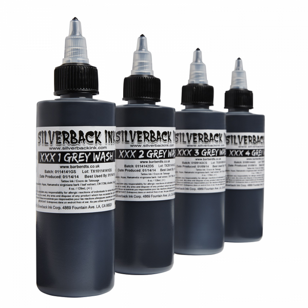 Silverback Ink - Grey Wash Series Set XXX1 - XXX4, 4oz Choose singles or 4 Bottle Set