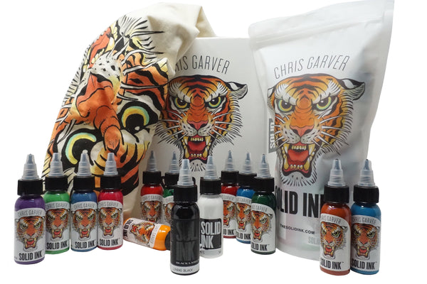 Solid Ink : Chris Garver Set | (12) 1oz Colors + Solid White & Lining Black + Collectible Box & T-Shirt