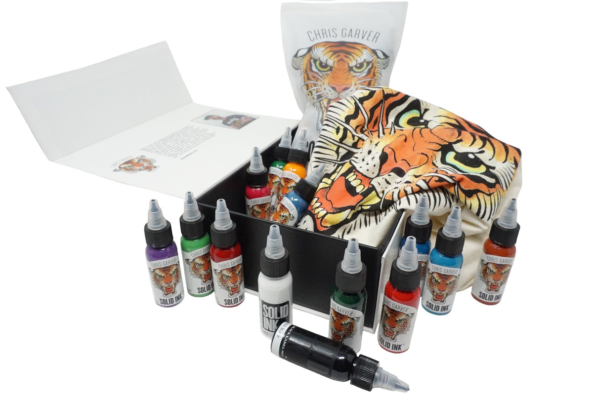 efbb95cd8 Solid Ink : Chris Garver Set | (12) 1oz Colors + Solid White & Lining –  RelyAid Tattoo Supply