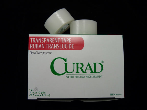 "CURAD Transparent Tape, 1"" x 10 yds 12/box. Made in the USA"