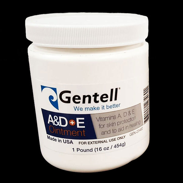 Gentell A&D + E Ointment New Size 16oz Jar, 12 Jars/Case. Made in the USA.