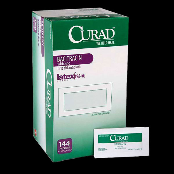 CURAD Single Antibiotic Ointment, Bacitracin 0.9g Foil Pack, 144/box. Made in the USA
