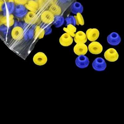 Grommet Nipples SOFT RUBBER. Gold or Blue 100 pac or 200 Pack Mixed