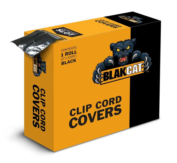 BLAKCAT clip cord sleeves, 2 inch x 1,200 ft roll in a self dispensing box.