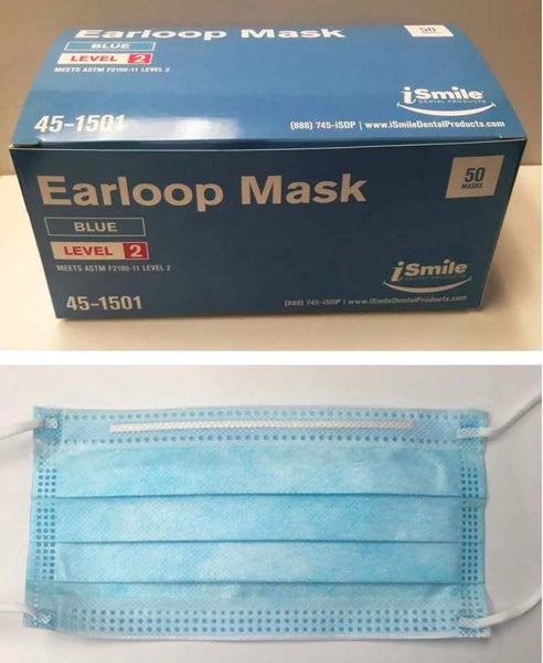 iSmile LEVEL 2 Face Mask BLUE, CHOOSE Box of 50 or Case of 10 Boxes.