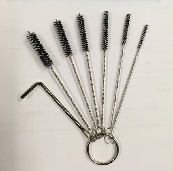 Tattoo Tube Cleaning Brush Set, pack of 6 plus an allen wrench (not shown in pic)