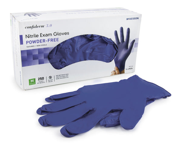 **250 Gloves per Box** McKesson Confiderm 3.0 NITRILE GLOVES- INDIGO, 250/box, (230/box XL) 10 boxes/case. **Limit 3 boxes.