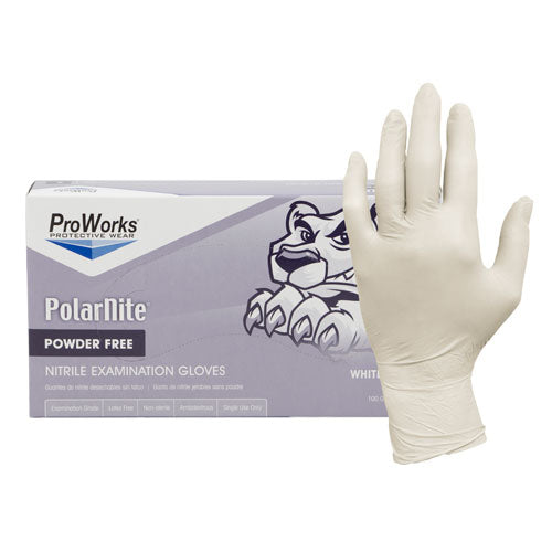 ***NEW*** ProWorks® Polar Nite® NITRILE Gloves - WHITE, 100/box, 10 boxes/case (LIMIT 3 BOX MAX. PER ARTIST) See Photo for Side-by-Side Comparison WHITE vs. Beige