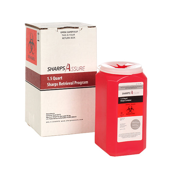 Sharps Mail Back Disposal System 1.5 Quart. (comes with prepaid box and postage)