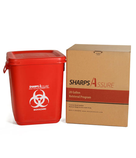 Sharps Mail Back Disposal System 28 Gallon. Comes with prepaid box and postage.