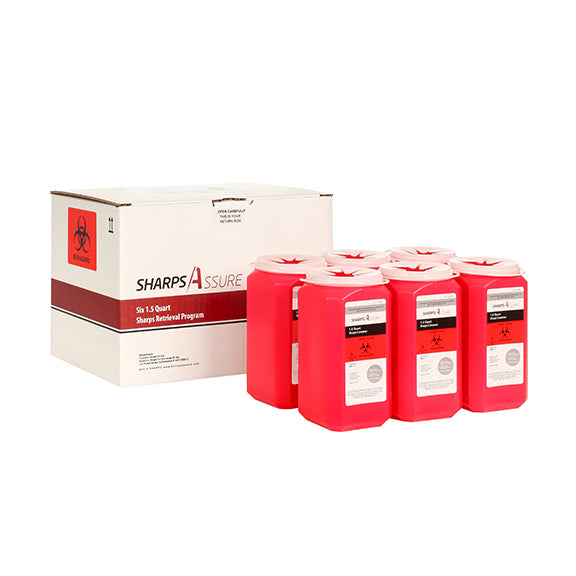 Sharps Mail Back Disposal System 6 Pack of 1.5 Qt. (comes with prepaid box and postage)