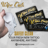 Wipe Outz Premium Dry Tattoo Towels, Pack of 10 or Singles, CHOOSE COLOR.