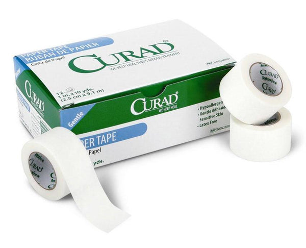 "Curad Paper Tape 1""x10yds, 12 rolls/box. Made in the Mexico"