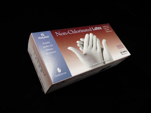 RelyAid Non-Chlorinated LATEX Gloves - NATURAL,  100/box, 10 boxes/case (LIMIT 3 BOX MAX. PER ARTIST)