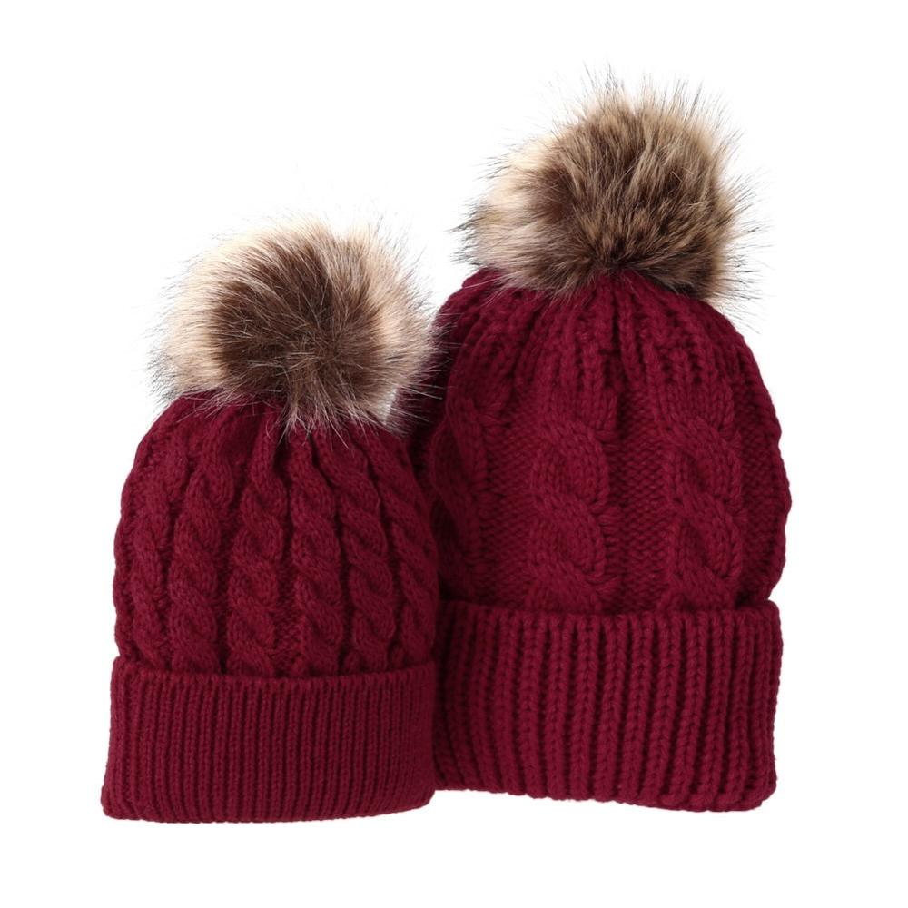 ... 5Colors Mom And Baby Hat with Pompon Warm Raccoon Fur Bobble Beanie  Kids Cotton Knitted Parent ... 95057264b45