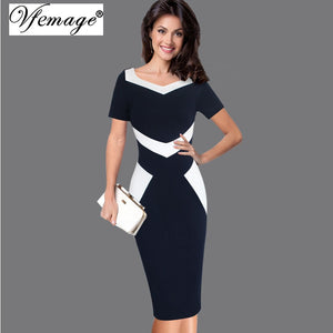 Vfemage Womens Elegant Optical Illusion Patchwork Contrast 2017 Slim Casual  Work Office Business Party Bodycon Pencil cceadc408