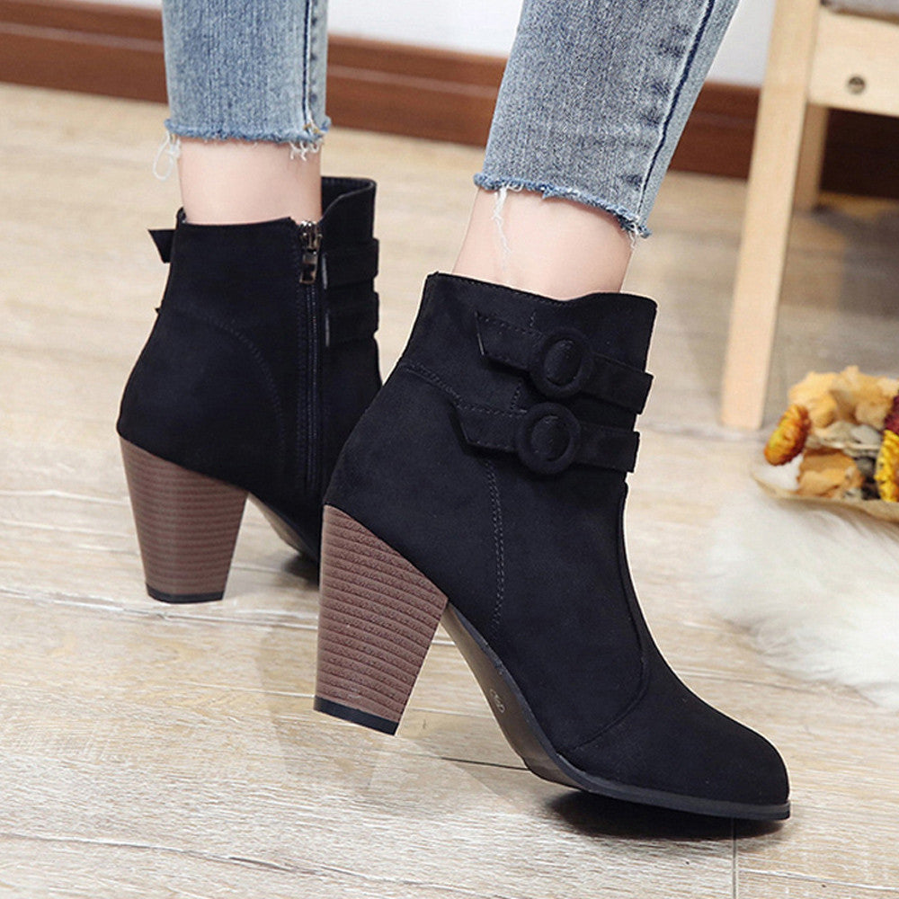 d2a98dfcae8 ... YOUYEDIAN Red Boots Women 2018 Ankle Boots For Women High Heel Autumn Shoes  Women Fashion Zipper ...