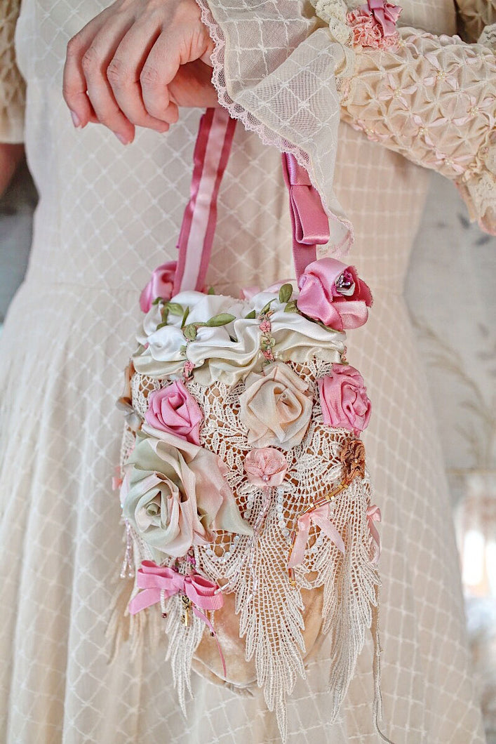Silk Bridal Reticule with Silk Ribbon Work