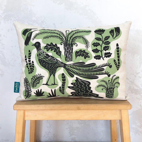 Decorative Lyrebird cushion