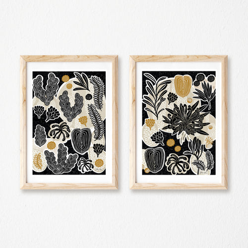 Botanical art print set